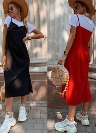 Женский костюм майка футболка платье сарафан на брительках миди, жіноче плаття міді