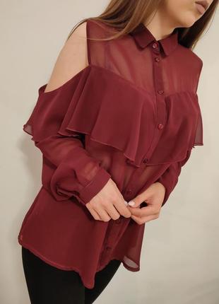 Шикарная блузка марсала с открытыми плечами