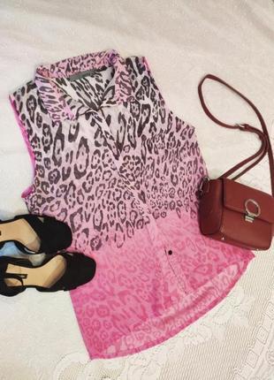 Классная новая блузка рубашка сорочка топ леопардовая омбре #распродажа