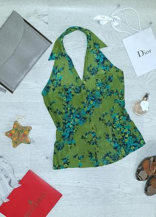 Летняя шелковая брендовая блуза в цветочный принт с открытой спинкой, xandres