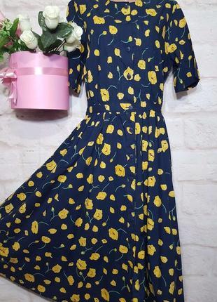 Платье миди синее натуральное коттоновое на пуговичках карманчики р 14