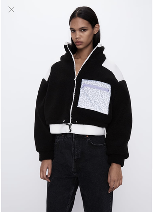 Zara стильная куртка бомбер искусственный мех