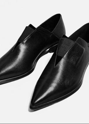 Кожаные туфли на плоской подошве с острым носом zara woman