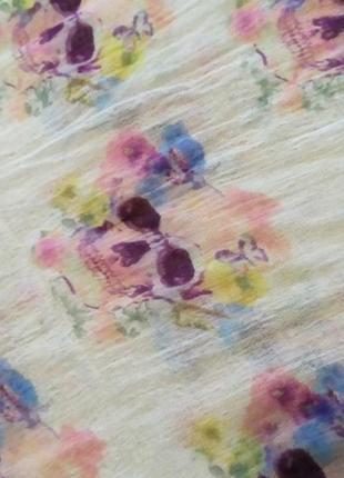 Платок парео шарф шаль цветы акварель череп