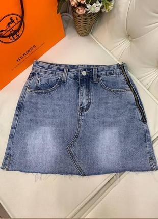 Юбка джинсовая с молнией