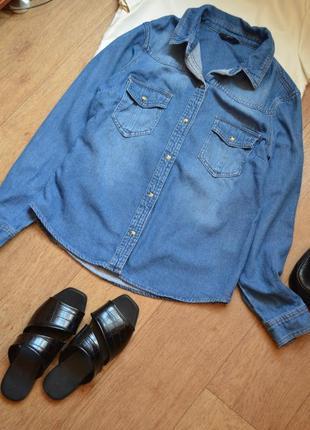 F&f джинсовая рубашка джинс прямая бойфренд стильная с карманами