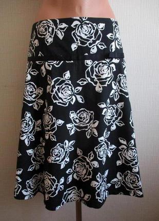 Sale -50%! хлопковая котоновая юбка в цветочный принт new look