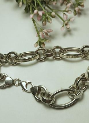 Серебряный браслет с крупными звеньями/ серебро/ 24 см