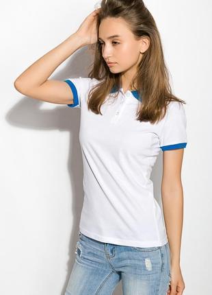 Женское поло, бело-синее