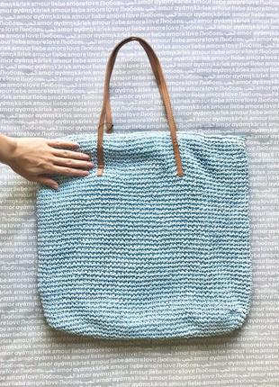Сумка шоппер соломенная плетеная на молнии голубая белая купить цена
