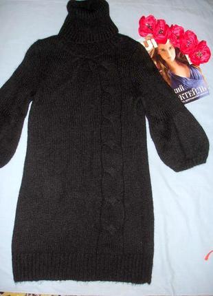 Туника платье свитер кофта шерстяная черная размер 42-44 /10 новая зимняя осенняя