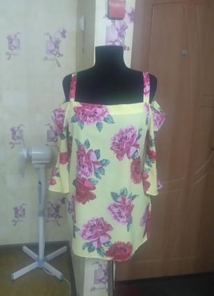 Шикарная яркая фирменная блуза с открытыми плечами dorothy perkins р.14 (турция)