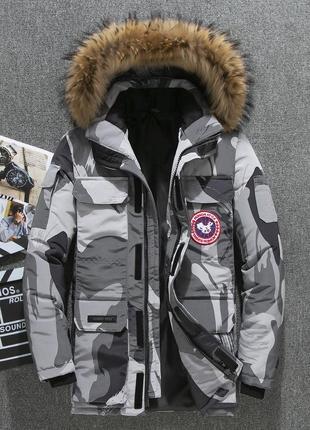 Мужская зимняя куртка аляска пуховик. очень тёплая. милитари серый