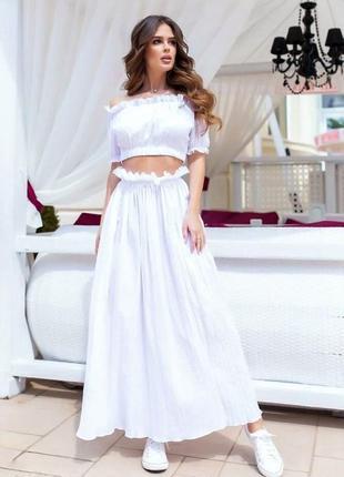 Білий літній костюм топ+спідниця розмір s-m, m-l