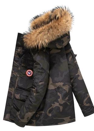 Мужская зимняя куртка аляска пуховик. очень тёплая. милитари хаки3 фото