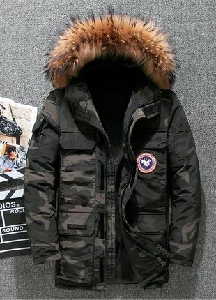 Мужская зимняя куртка аляска пуховик. очень тёплая. милитари хаки
