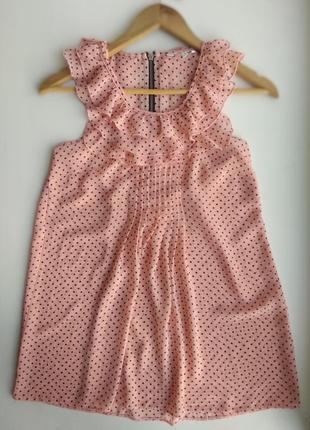 Блуза акция распродажа шифоновая персиковая в чёрный горох с рюшами new look 34 размер xs