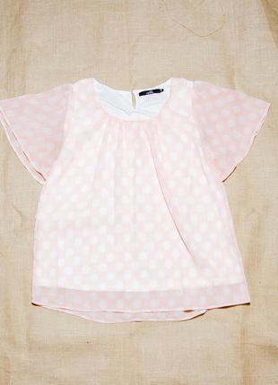 Летняя блузка в горошек, шифоновая блуза светлая, блузка больших размеров