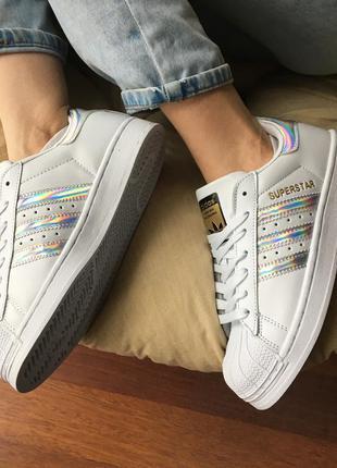 Кроссовки белые с голограммой superstar adidas