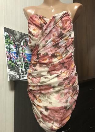 Шикарное платье мини цветочный принт под dolce