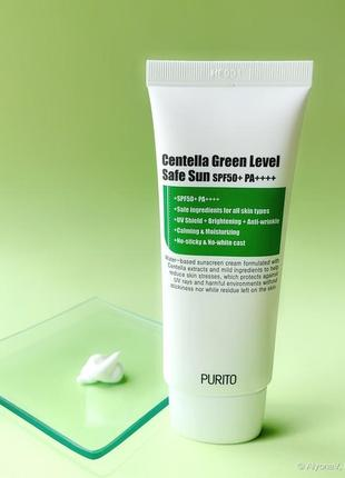 Солнцезащитный крем с центеллой purito – centella green level safe sun (spf50+