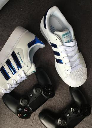Кроссовки кожаные белые с синим superstar