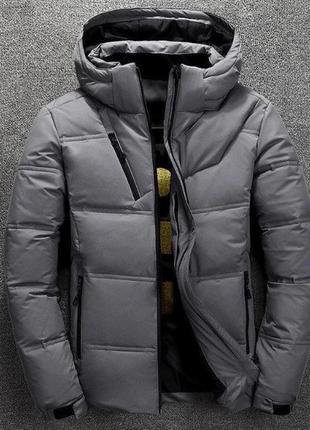 Мужская зимняя куртка пуховик с термоподкладкой, серая