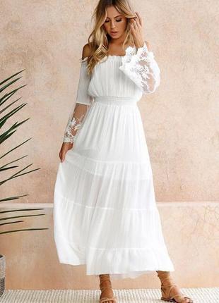 Романтичный белый сарафан с кружевом