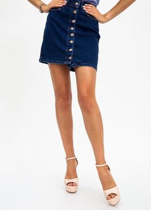Крутая джинсовая летняя юбка на пуговицах