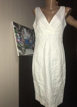 Базовое белое платье миди льняное