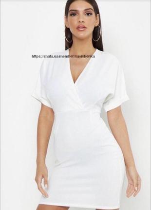 Белое платье классика на запах с поясом v вырез