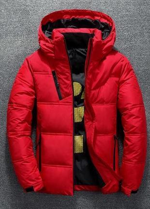 Мужская зимняя куртка пуховик с термоподкладкой, красная
