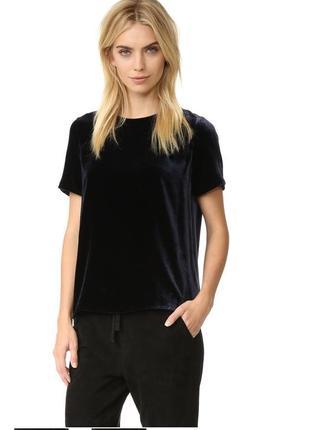 Стильная бархатная черная футболка топ блуза велюр