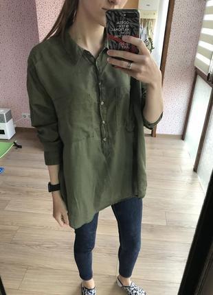 Лёгкая полупрозрачная блуза туника с натуральной ткани цвета хаки