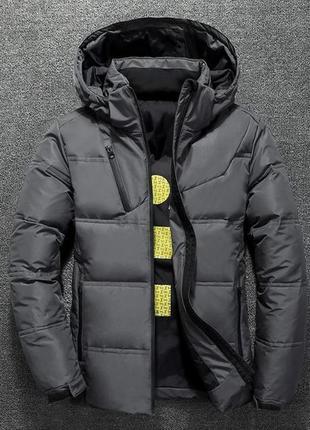 Мужская зимняя куртка пуховик с термоподкладкой, графит