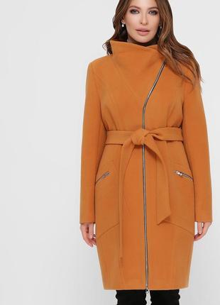 Горчичное пальто на молнии