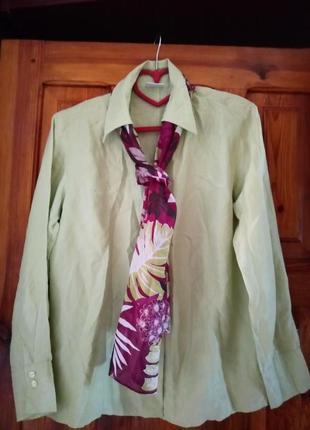 Премиум!шелковая офисная рубашка блуза оливкового цвета шелковый шарф в подарок