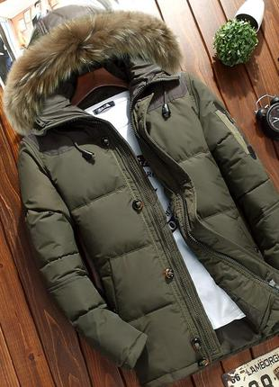 Мужской зимний пуховик куртка jeep с опушкой, хаки