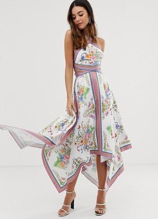 Асимметричное платье с принтом  asos,  размер 10