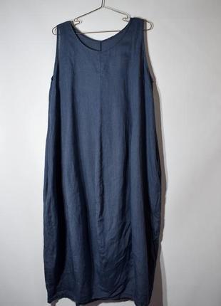 Льняне синє плаття міді, балахон. оверсайз