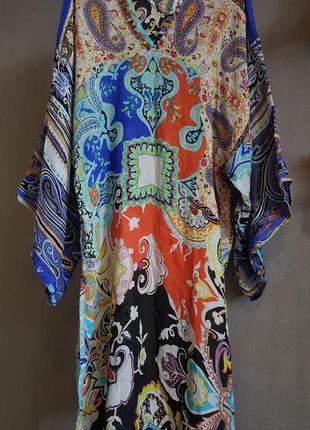 Etro яркое шелковое пляжное платье, туника, кимоно (prada, dior, gucci,max mara,marc)