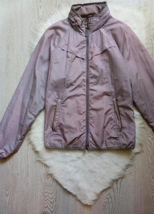 Серая белая ветровка куртка на молнии в клетку с капюшоном карманами батал большой
