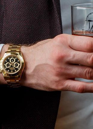 Часы мужские на браслете в позолоте rolex daytona gold-black