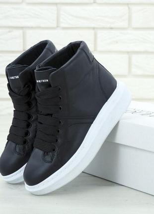 Alexander mcqueen high black (кроссовки / ботинки черные)