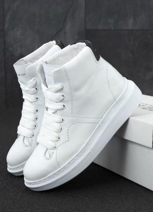 Alexander mcqueen high white (кроссовки / ботинки белые)