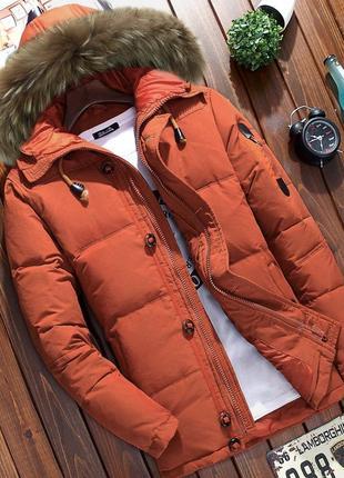 Мужской зимний пуховик куртка jeep с опушкой, оранжевый