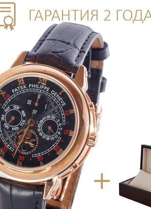 Часы мужские patek philippe sky moon gold-black/новые/2 года гарантии