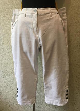 Лаконичные женские белоснежные капри батальные шорты,джинсовые бриджи 50 р