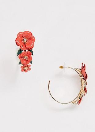 🌹🌷 яркие летние серьги гвоздики кольца с красными цветами маками эмаль, кристаллы от asos