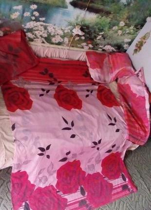 Постельное белье розы полуторное/комплект/пододеяльник/подушка/простынь/бельё